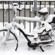 Bicycle with infant seat covered in snow — Stock Photo