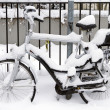 Bicycle with infant seat covered in snow — Stock Photo #16993193