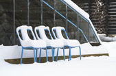 Three snow covered chairs by a greenhouse — Stockfoto