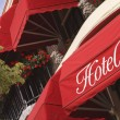 Bright red hotel awnings — Stock Photo