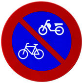Red and blue bicycle reflector sign — Zdjęcie stockowe