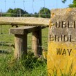 Engraved stone sign for a public bridleway — Stock Photo