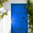 Old blue wooden door - Stock Photo