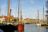 Tall ships in Alkmaar harbour — Stock Photo