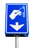 Isolated blue parking payment sign — Stock Photo