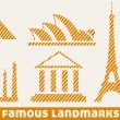 Famous landmark icons — Stock Vector