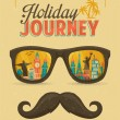 Stock Vector: Typography Poster, Sunglasses with Landmark Buildings Reflection and Mustache. Holiday Journey.