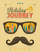 Typography Poster, Sunglasses with Landmark Buildings Reflection and Mustache. Holiday Journey. — Stock Vector