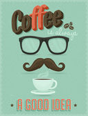 Retro Typography Poster with Glasses, Mustache and Cup of Coffee — Stock Vector