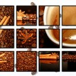 Collage of coffee motives - 图库照片