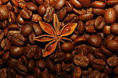 Coffee beans, star anise, cinnamon, — Stock Photo