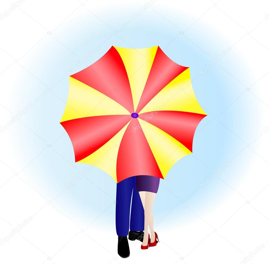 Man and woman with umbrella — Stock Vector #18009397
