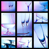 Glass for brandy. colored collage — Stock Photo