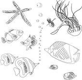 Samling av fisk från röda havet. maneter, sjöstjärnor. målarbok — Stockvektor
