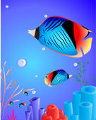 Fish with corals — Stock Vector