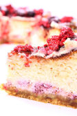 Cheesecake with raspberries — Stock Photo