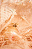 Christmas boll with strow in gold — Stock Photo