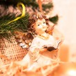 Christmas angel with book in gold — Stock Photo #35776917