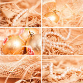New year collage of different backgrounds with straw in gold — Stock Photo
