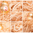 Christmas collage of different backgrounds with straw in gold — Stock Photo #35780059