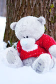 Toy bear at tree. winter — Stock Photo