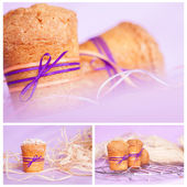 Muffin with purple ribbon. collage — Stock Photo