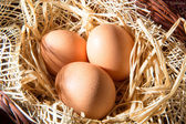 Eggs in the straw and basket — Stock Photo
