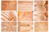 Wooden wall. sectioned log — Stock Photo