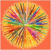 Lápices de colores en círculo — Vector de stock