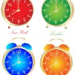 Stock Vector: World time clocks