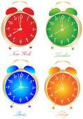 Mundo relojes — Vector de stock