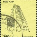 AUSTRIA - CIRCA 2011: A stamp printed in Austria, shows the Austrian Cultural Forum New York, a sketch Rainer Prohaska, circa 2011 — Stock Photo #11974254