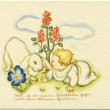 GERMANY - CIRCA 1938: Reproduction of an old postcard, shows a baby bunny and crawl through the grass, circa 1938. German text: The words of the folk song — Stock Photo #12086753