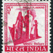 A stamp printed in India, shows a symbol of family planning campaign, circa 1976 - Stock Photo