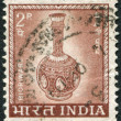 Royalty-Free Stock Photo: A stamp printed in India, shows a vase made in the style of Bidriware, circa 1967