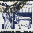 Stock Photo: Stamp printed in India, is dedicated to dairy industry, circ1982