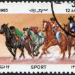 A stamp printed in the Afghanistan, is shown Peg sticking, circa 1985 — Foto de Stock