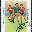 A stamp printed in the Afghanistan shows a football, circa 1985 — Stock Photo