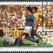 A stamp printed in the Belize, is dedicated to FIFA World Cup 1982 in Spain, shows a match between Italy - Brazil, circa 1982 — Stock Photo