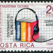 Stock Photo: Stamp printed in CostRica, dedicated to Cultural cooperation with Liechtenstein, Cultural radio programs (Overprinted 1991)