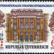 Stock Photo: AUSTRI- CIRC1989: stamp printed in Austria, devoted to 14 th Congress of International Society for Criminal Law, shows Palace of Justice, Vienna, circa