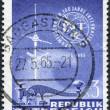 A stamp printed in Austria, shows the ITU Emblem, Telegraph Key and TV Antenna, circa 1965 — Stock Photo
