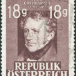 ������, ������: A stamp printed in Austria shows a portrait of Franz Seraphicus Grillparzer by Josef Kriehuber poet and dramatist circa 1947