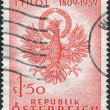 Stock Photo: Stamp printed in Austria, devoted to 150th anniversary of Fight for liberation of Tyrol, shows Coat of Arms, Tyrol, circ1959