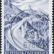A stamp printed in Austria, devoted to the Opening of highway over Brenner Pass, is shown Europa Bridge, circa 1971 - Stock Photo