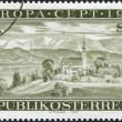 A stamp printed in Austria, shows the Attersee, Upper Austria, circa 1977 — Stock Photo