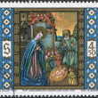 Royalty-Free Stock Photo: A stamp printed in Austria, shows Christ is Born, Aggsbacher Altar, Herzogenburg Monastery, circa 1984