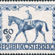 A stamp printed in Austria, is dedicated to the jumps on Grand Prix in Vienna, depicted Race Horse and Jockey, circa 1947 - Stock Photo
