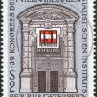 A stamp printed in Austria, devoted to the 39th Congress International Statistical Institute, shows the Gate, Vienna Hofburg, and ISI Emblem - Stock Photo