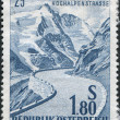 Stock Photo: Stamp printed in Austria, devoted to 25th anniversary of opening of Gross Glockner Mountain Road, circ1960